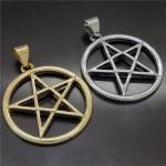 Серебро-золото-новинка-перевернутый-пентаграмма-звезда-мужчины-женщины-олова-подвеска-ожерелье-ювелирные-изделия-P297